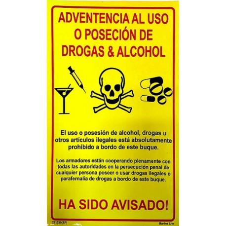 Póster ADVERTENCIA DE USO DE DROGAS Y ALCOHOL (30x20cm) Yellow Vin. IMO symbol 221539YV-SP