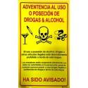 Señal IMO PÓSTER ADVERTENCIA DE USO DE DROGAS Y ALCOHOL (30x20cm) Yellow Vin. IMO symbol 221539YV-SP
