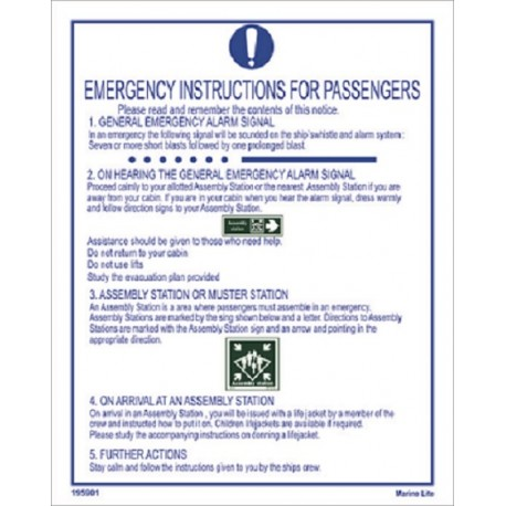 EMERGENCY INSTRUCTIONS FOR PASSENGERS  White Vin. IMO symbol 195901WV