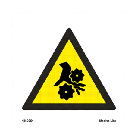 WARNING ROTATING EQUIPMENT  (15x15cm) White Vin. IMO sign 18-0051WV
