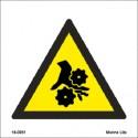 WARNING ROTATING EQUIPMENT  (15x15cm) White Vin. IMO sign 18-0051WV