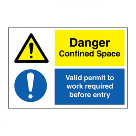 DANGER CONFINED SPACE / VALID PERMIT  (20x30cm) White Vin. IMO sign 173117WV