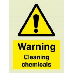 WARNING CLEANING CHEMICALS  (20x15cm) White Vin. IMO sign 187664WV