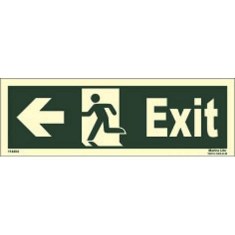 EXIT MAN RUN LEFT ARROW LEFT (15x40cm) Phot.Vin. IMO sign 114404(13)