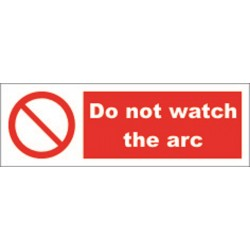 DO NOT WATCH THE ARC  (10x30cm) White Vin. IMO symbol 208565WV