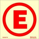 "EMERGENCY LIGHT ""E""  (3x3cm) Phot.Vin. IMO sign R230077E(3)"