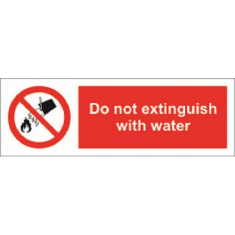 DO NOT EXTINGUISH WITH WATER (10x30cm) White Vin. IMO symbol 208563WV