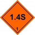 CLASS 1, EXPLOSIVE DIV. 1.4S (25x25cm) White Vin. IMO sign 172250(40)MAC