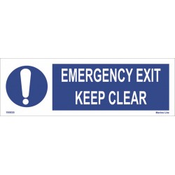 EMERGENCY EXIT KEEP CLEAR  (10x30cm) White Vin. IMO symbol 195830(9)WV