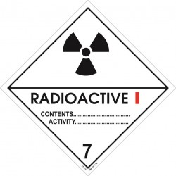 Class 7, Catagory I, Radioactive (25x25cm) White Vin. IMO sign 172217(40) MAC WV