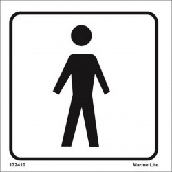 Toilets, mens  (15x15cm) White Vin. IMO sign 172410WV