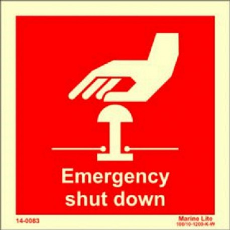 EMERGENCY SHUT DOWN  (15x15cm) Phot.Vin. IMO sign 14-0083