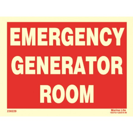 EMERGENCY GENERATOR ROOM  (15x20cm) Phot.Vin. IMO sign 230229