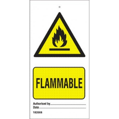 FLAMMABLE  (7,5x15cm) White Vin. IMO sign 182508-SET