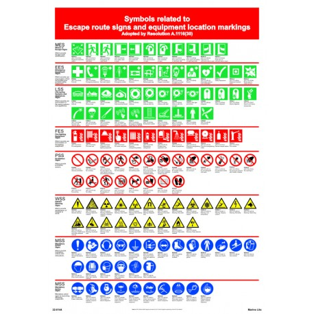 SYMBOLS RELATED TO ESCAPE ROUTE SIGNS AND EQUIPMENT LOCATION MARKINGS POSTER( 45x32cm) White Vin. IMO symbol 22-0144WV