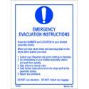 EMERGENCY EVACUATION INSTRUCTIONS  (20x15cm) White Vin. IMO symbol 195903WV