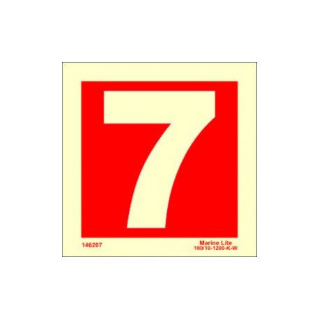 NUMBER 7  (15x15cm) Phot.Vin. IMO sign 146257