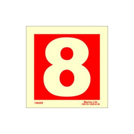 NUMBER 8  (15x15cm) Phot.Vin. IMO sign 146258