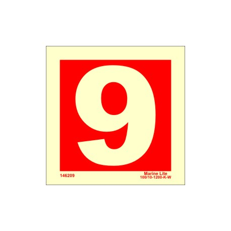 NUMBER 9  (15x15cm) Phot.Vin. IMO sign 146259