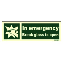 In emergency break glass to open  (10x30cm) Phot.Vin. IMO sign 104195