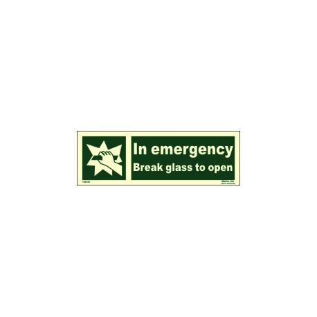 Señal IMO EN CASO DE EMERGENCIA, ROMPER EL CRISTAL PARA ABRIR (10x30cm) vinilo fotoluminiscente 104195 / EES013