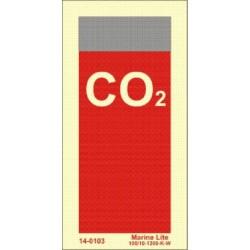 SEÑAL ADICIONAL IDENTIFICATIVA MEDIO DE EXTINCIÓN CO2 (15x7,5cm) vinilo fotoluminiscente IMO sign 14-0103