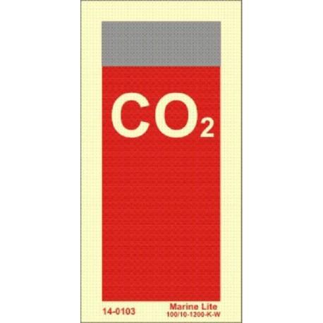 SUPPLEMENTARY SIGN IDENTIFYING EXTINGUISHING MEDIA: CO2 (15x7,5cm) Phot.Vin. IMO sign 14-0103