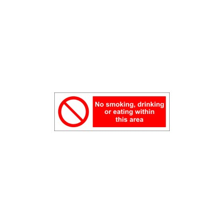 NO SMOKING DRINKING OR EATING WITHIN THIS AREA  (10x30cm) White Vin. IMO symbol 208566WV