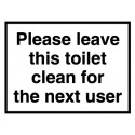 PLEASE LEAVE TOILET CLEAN  (20x15cm) White Vin. IMO sign AV138/230219WV