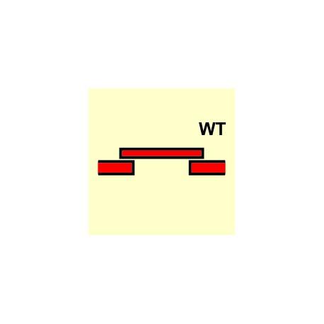 Señal IMO PUERTA CONTRA INCENDIOS CORREDERA CLASE - A (WATERTI) (15x15cm) vinilo fotoluminiscente 156767