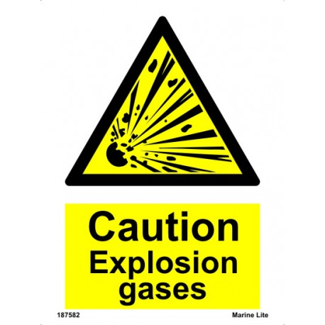 CAUTION EXPLOSION GASES  (20x15cm) White Vin. IMO sign 187582WV