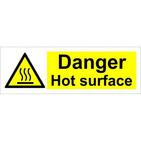 DANGER HOT SURFACE  (10x30cm) White Vin. IMO sign 187579(09)WV