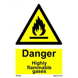 DANGER HIGHLY FLAMMABLE GASES (20x15cm) White Vin. IMO sign 187632WV