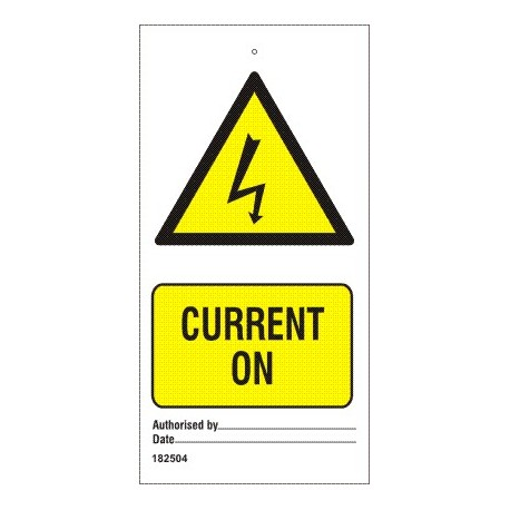 CURRENT ON (7,5x15cm) White Vin. IMO sign 182504-SET