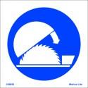 Señal IMO LAS PROTECCIONES DEBEN ESTAR POSICIONADAS ANTES DE EMPEZAR (15x15cm) vinilo blanco autoadhesivo 195655WV