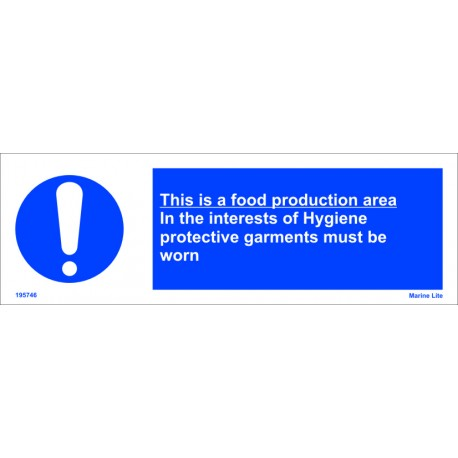 HIS IS A FOOD PRODUCTION AREA.IN THE INTEREST OF HYGIENE (10x30cm) White Vin. IMO sign 195746WV