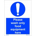 PLEASE WASH ONLY FOOD EQUIPMENT HERE  (20x15cm) White Vin. IMO sign 195759WV
