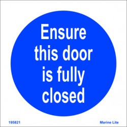 ENSURE THIS DOOR IS FULLY CLOSED  (15x15cm) White Vin. IMO symbol 195821WV