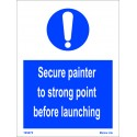 SECURE PAINTER TO STRONG POINT BEFORE LAUNCHING (20X15cm) White Vin. IMO symbol 195875WV