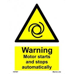 Señal IMO PRECAUCIÓN, EL MOTOR ARRANCA Y SE PARA AUTOMÁTICAMENTE (20x15cm) vinilo blanco autoadhesivo 187557WV / WSS018