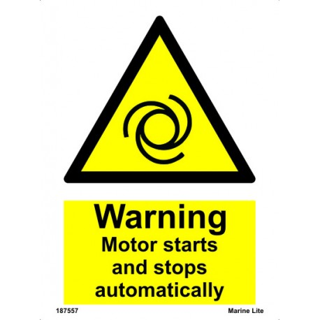 WARNING MOTOR STARTS & STOPS AUTO (20x15cm) White Vin. IMO sign 187557WV / WSS018